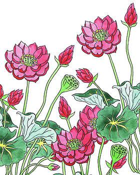 Lotus Flower Garden Watercolor Botanical  by Irina Sztukowski