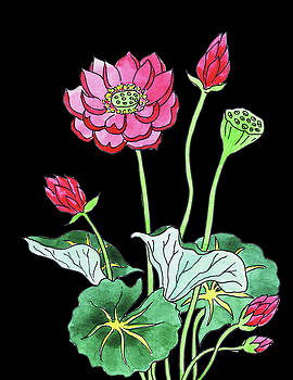 Lotus Flower Watercolour by Irina Sztukowski