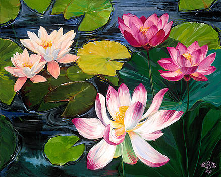Lotuses and Lilies  by Wendy Roberts