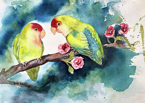 Love Birds on Branch by Hilda Vandergriff