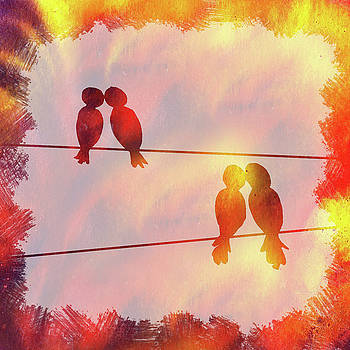 Irina Sztukowski - Love Birds Sunset Watercolor Silhouette