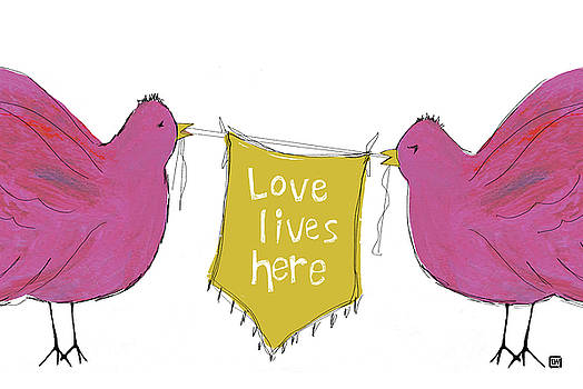 Love Lives Here Pink Birds by Lisa Weedn