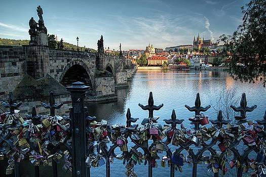 Love Locks on St. Charles Bridge Prague by Eric Bjerke