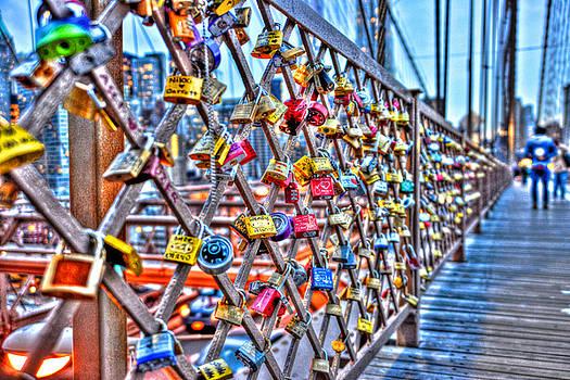 Love Locks on the Brooklyn Bridge Too by Randy Aveille