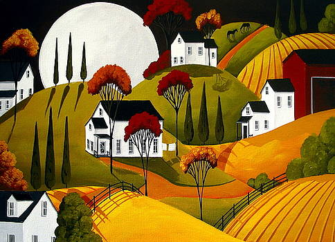 Love Of Autumn - folk art landscape  by Debbie Criswell