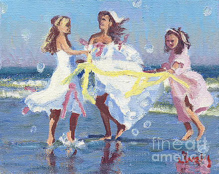 Candace Lovely - Love Peace and Joy IIIThree girls dancing for peace in the ocean with bubbles. Everyday is a present