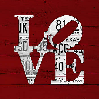 Love Sign Vintage License Plates on Red Barn Wood by Design Turnpike