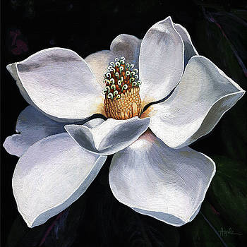 Lovely in White - painting magnolia flower  by Linda Apple
