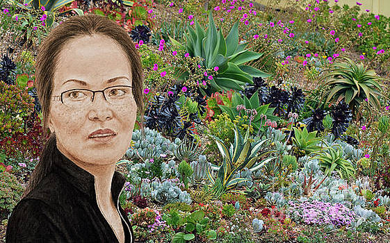 Lovely Vietnamese Woman with Glasses and Freckles in a Beautiful Garden by Jim Fitzpatrick