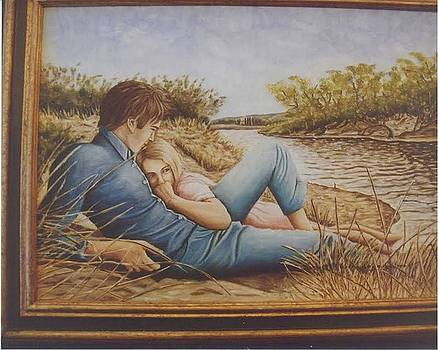 Lovers on the river by Mario Colasante