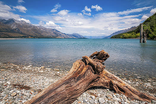 Low Angle View from the rocky Dart river bank at Kinloch, NZ by Daniela Constantinescu