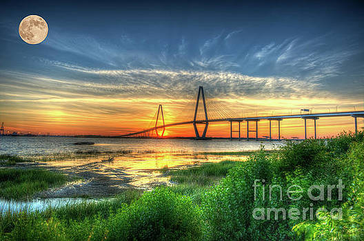 Dale Powell - Lowcountry Moon over Ravenel Bridge