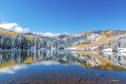 Lower Cataract Lake Fall Snow Scene by Stephen Johnson