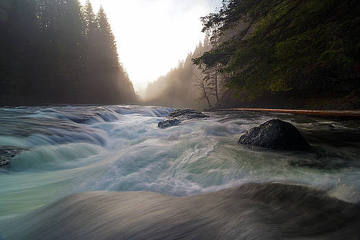 Lower Lewis River Falls During Sunset by David Gn