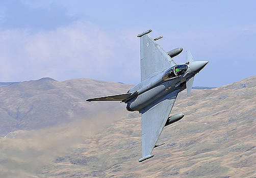 Lowflying Typhoon in the Welsh hills 01 by Barry Culling