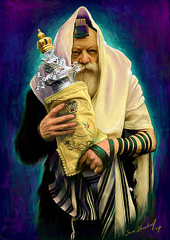 Lubavitcher Rebbe with torah by Sam Shacked