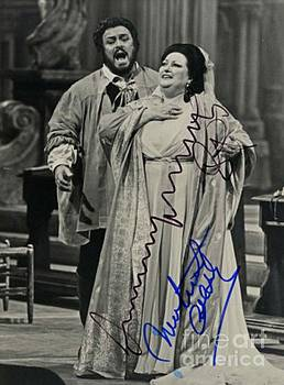 Luciano Pavarotti on Stage Autographed Print  by Pd