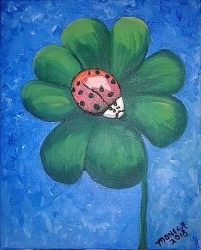 Lucky Ladybug on 4-Leaf Clover by Monica Resinger
