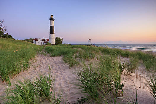 Ludington Beach and Big Sable Point Lighthouse by Adam Romanowicz