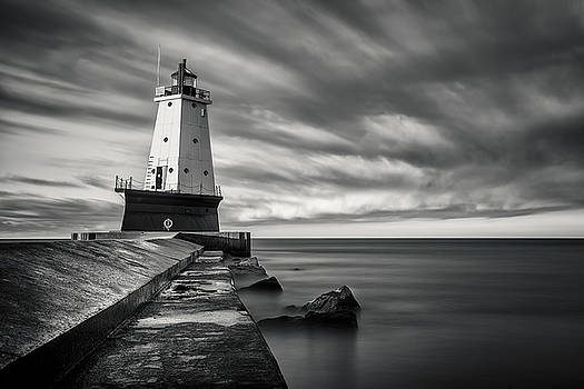 Ludington Light Black and White by Adam Romanowicz