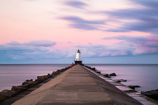 Ludington North Breakwater Light Sunrise by Adam Romanowicz