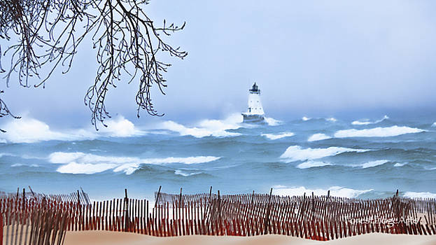 Ludington Winter Shore  by Dick Bourgault