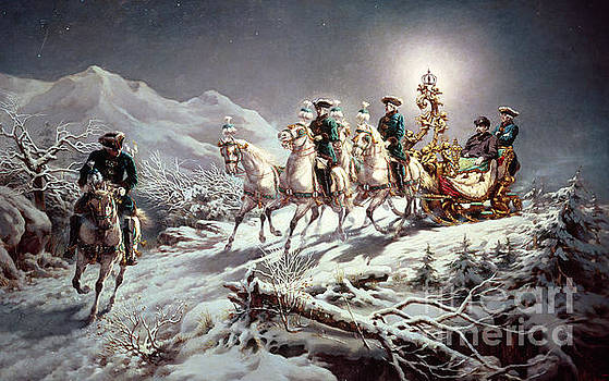 Karl Gottlieb Wenig - Ludwig II of Bavaria Sleighing at Night from Neuschwanstein to Linderhof