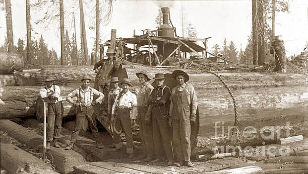 California Views Mr Pat Hathaway Archives - lumberjacks next to Redwood longs with a Steam Donkey