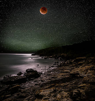 Lunar Eclipse over Great Head by Brent L Ander