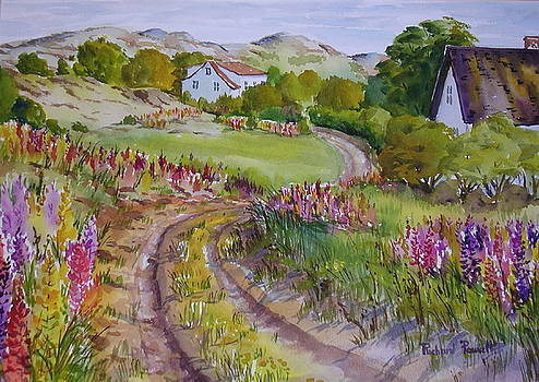 Lupens on Dirt Road by Richard Powell