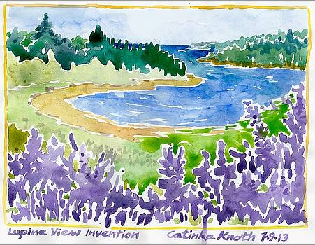 Lupine Coastal Scene Watercolor by Catinka Knoth