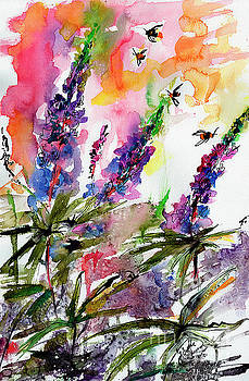 Ginette Callaway - Lupines and Bees Flower Watercolor