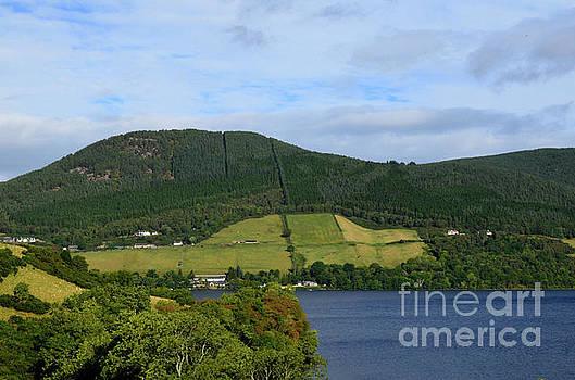 Lush Rolling Green Hills of the Scottish Highlands Over Loch Nes by DejaVu Designs
