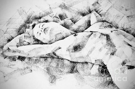 Lying Woman Figure Drawing by Dimitar Hristov
