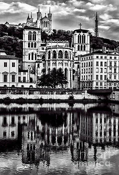 Lyon Cathedrals- Black and White  by Steve Rowland