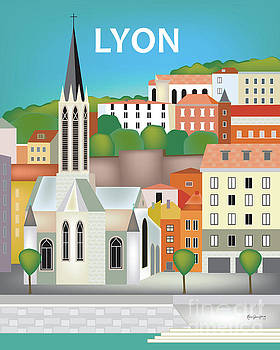 Lyon, France Vertical Skyline by Karen Young