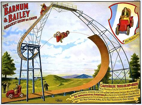 M lle Mauricia de Tiers auto bolide thrilling dip of death, poster for Barnum and Bailey, ca. 1905 by Vintage Printery