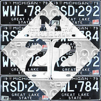 Design Turnpike - M22 Michigan Highway Symbol Recycled Vintage Great Lakes State License Plate Logo Art