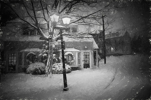 Toby McGuire - Mablehead Market Square Snowstorm Old Town Evening Black and White Painterly