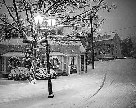 Toby McGuire - Mablehead Market Square Snowstorm Old Town Evening Black and White