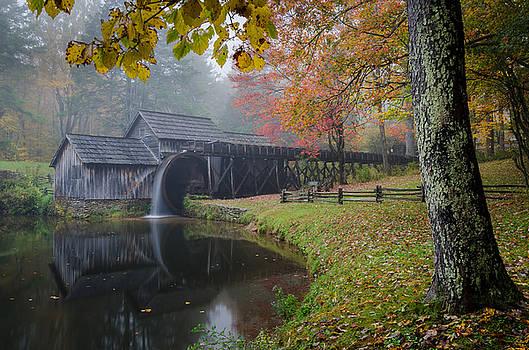 Mabry Mill-Autumn Mist by Greg Dollyhite