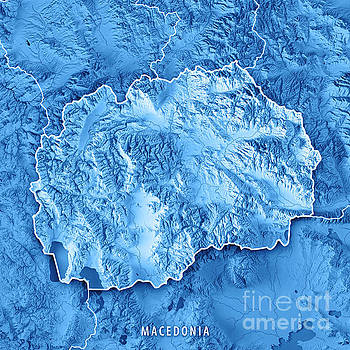 Macedonia Country 3D Render Topographic Map Blue Border by Frank Ramspott