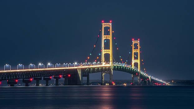 Mackinac Bridge - Lights  by Marybeth Kiczenski
