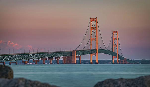 Mackinac Bridge - Sunset  by Marybeth Kiczenski