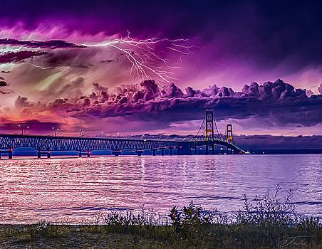 Mackinaw Mackinac Bridge Lightning Storm over the Mackinaw Bridge Michigan by J Thomas