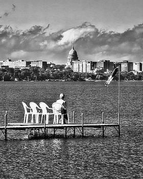Steven Ralser - Madison Capitol across Lake Mendota - black AND WHITE