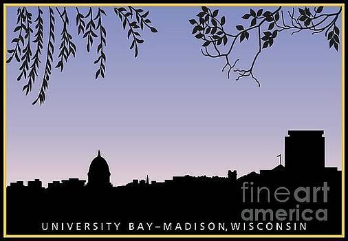 Madison, WI skyline across University Bay at sunrise by R V James