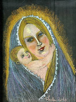 Madonna And Child From Imagination by Elena Malec