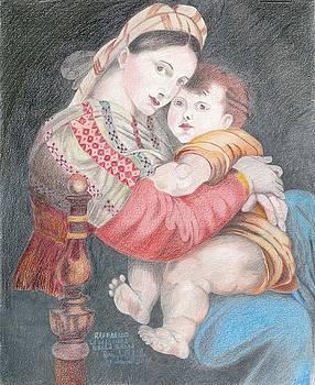 Madonna of The Chair Raffaello by Bernardo Capicotto