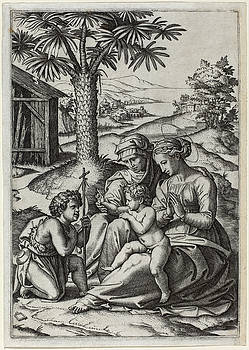 Marcantonio Raimondi - Madonna under a Palm Tree